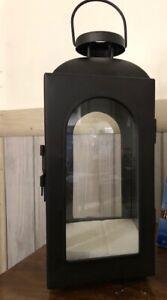 Decorative Candle Lantern 13.3 in Iron in Black.