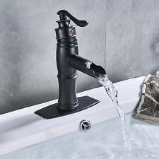 Oil Rubbed Bronze Bathroom Basin Faucet Waterfall Spout Sink Mixer Tap w/Cover
