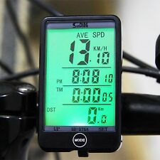 Wireless Bike Computer Led Speedometer BackLight Waterproof Meter Bicycle Cycle