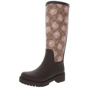 Coach Womens Sig Brown Floral Logo Rain Boots Shoes 6 Medium (B,M) BHFO 5904