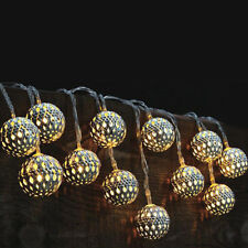New! Set Of 12 Solar Led Lights - Moroccan Globe Lanterns -Indoor/Outdoor String