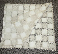 Antique Vtg Crochet Pieced Squares Tablecloth Throw Shabby Cottage Ivory 60 X 54