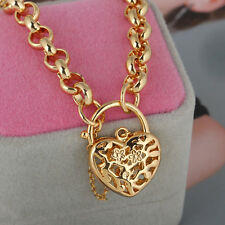 Woman 18K Gold Filigree Heart Pendant Bracelet Jewelry Padlock Adjustable Chain