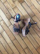 Vtg Nwt Deadstock Groovy 70s Wooden Platform Black Strappy Sandals Js Brazil 6B