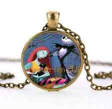 NEW Nightmare Before Christmas jack  and sally glass bronze necklace#TKL22