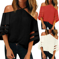 Summer Women Off Shoulder Mesh Panel Blouse 3/4 Bell Sleeve Loose Top Shirt US