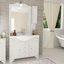 Mobile decapè arte povera 105cm con lavabo ceramica, specchio, applique, pensile