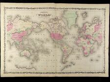 1863 CIVIL WAR MAP OF THE WORLD JOHNSON'S  ATLAS, w/ C.O.A. ORIG.ANTIQUE VGC
