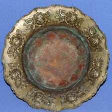 Antique Art Deco Bronze Floral Roses Footed Bowl