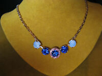 MARIANA NECKLACE SWAROVSKI BLUE SAPPHIRE CRYSTALS ROSE GOLD PL MOSAIC Multi PINK
