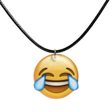 """17 3/4"""" Face with Tears of Joy Emoji Black Waxed Cord Acrylic Pendant Necklace"""