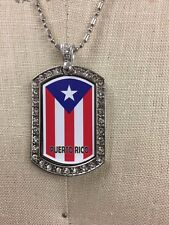 Puerto Rico Flag Dog Tag Necklace with CZ Stones