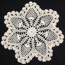 """pineapple 10"""" 25cm white crochet doilies, vintage doilie, lace doilie round 7pts"""