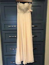 Lulus Champagne Rhinestone Strapless Maxi Dress S Wedding Bridal Long Formal Chi