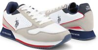 U.S. Polo Assn. Nobil Men's Sneakers Shoes In White & Grey Fabric Leather NEW
