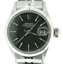 Vintage Rolex Date Ladies Stainless Steel Watch Domed Bezel Black Dial Jubilee