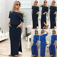 Boho Womens Off shoulder Party Evening Cocktail Bodycon Long Maxi Dress UK 8-14