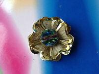 Vintage Czech Iris Rainbow Glass brooch goldtone mesh