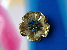 Vintage Czech Iris Rainbow Glass brooch goldtone mesh