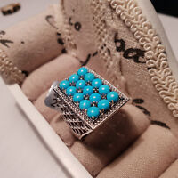 Stunning Arizona Sleeping Beauty Turquoise Cluster Ring in platinum over Silver