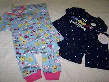 2 Pair~Girl 4T~Pajamas~Tight fit~Cotton~Emojis~Nwt~C13