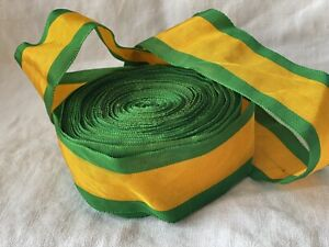 Vintage Tape Ribbon, Green & Yellow Stripes Grosgrain. French Haberdashery Braid