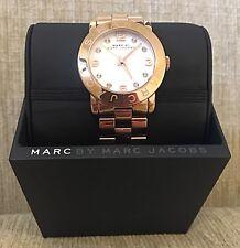 Marc Jacobs Women's Watch - Amy White Rose Gold Tone Ladies Quartz Steel MBM3077