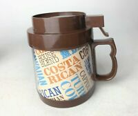 "Vintage 1984 ""Coffee Collage"" Thermo-Serv Travel Coffee Mug Thermos with Lid"