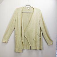 Eileen Fisher Medium Sweater 100% Linen Cardigan Open Front Asymmetrical Pockets