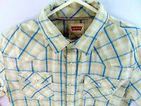 Levis White Tab Modern Fit Western Shirt Long Sleeve Size Medium Pearl Snaps