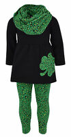 Girls St Patrick's Day Speckled Clovers Legging Set 2t 3t 4t 5 6 7 8 Clothes