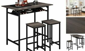 3 Pieces Rustic Kitchen Breakfast Bar Table Set,2 Person Table and Grey Oak