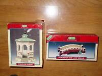 (2) LEMAX 1991 : Christmas Village Accessory - New Lamp Bridge + Gazebo -w/Boxes