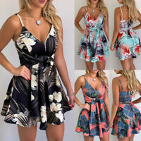 Holiday Beach Sundress Women Boho Strappy V-Neck Floral Mini Dress Sleeveless