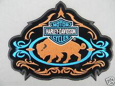 "Harley Davidson BAR & SHIELD Buffalo PATCH  8"" OBSOLETE neon blue, brown & black"