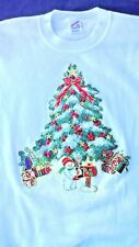 White  Christmas Glitter Tree Snowman Unisex XL Hand Embellished  Pre Owned USA