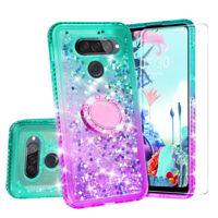 Case for LG Q70 Case Hybrid Liquid Glitter Diamond Bling Phone Cover