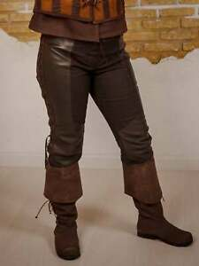 Witcher Fabric With Leather Pants Medieval Clothes Warrior Trouser Viking Pants
