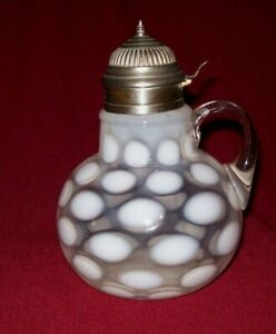 Awesome EAPG Northwood Clear Opalescent COIN SPOT Syrup Jug - EXC