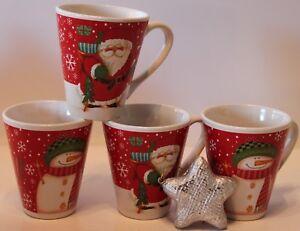 4xWeihnachtstassen/-Becher konisch aus Keramik/ Schneemann+Nikolaus 265ml *NEU*