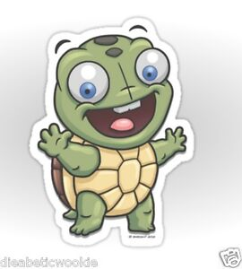 Adorable Cute Happy Turtle Animal shell pet Sticker decal car laptop scrapbook