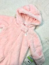 NWT size 3 month Baby Girl CARTERS Pink Bear Ears Faux...