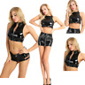 Women Zipper Front Bra Bustier Wetlook Dance Tank Vest Crop Top Blouse Clubwear