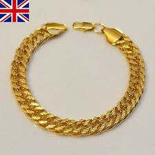 "Mens Real yellow gold filled 10mm chain link bracelet 8.5"" Good weight , GIFT UK"