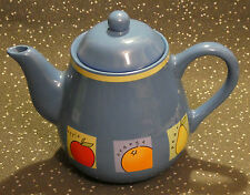 RAYWARE BLUE AND YELLOW TEAPOT WITH APPLE ORANGE PEAR ILLUSTRATIONS