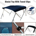 Boat Bimini Top 3 Bow 4 Bow Navy Blue Canopy Cover 6ft 8ft Long Freee Clips