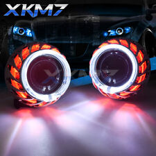 Dual Turbine Firewheel Angel Eyes HID Bi-xenon Projector Lens H4 H7 H1 Headlight