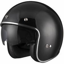 Leopard Leo-601 Motorbike Open Face Helmet Black With Sun Visor Goggles S
