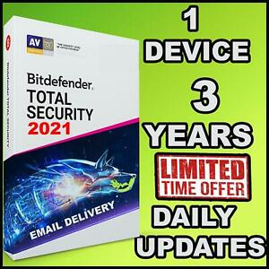 BITDEFENDER TOTAL SECURITY 2021  3 YEARS 1 DEVICE ACTIVATION - GLOBAL - GENUINE
