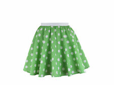 Childs Rock and Roll 50s Fancy Dress Grease Costume Polka Dot Skirt & Scarf Green With White Spot M